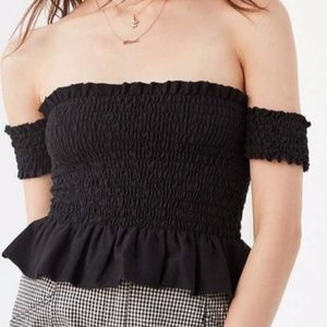 Urban Outfitters TMD Ruffle Black Crop Top
